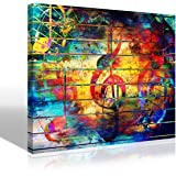 Abstract Picture Watercolor Collage Music Notes Violin Clef Painting Canvas Print Wall Art Colorful Artwork for Living…