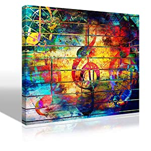 """Abstract Picture Watercolor Collage Music Notes Violin Clef Painting Canvas Print Wall Art Colorful Artwork for Living Room Bedroom Karaoke Bar Decoration Modern KTV Home Decor Framed,12""""X16""""X1Pcs"""