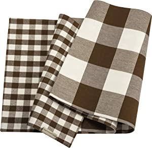 Primitives by Kathy Double Sided Table Runner, Brown White Buffalo Check Plaid Design, Cotton Machine Washable, Perfect for Family Table at Home, Rustic Farmhouse Decor for Kitchen