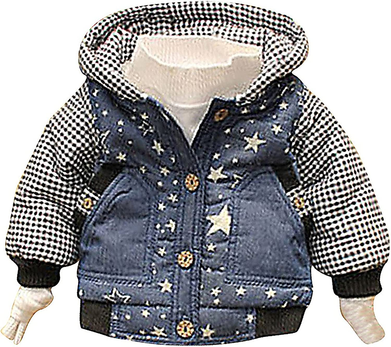 Sweety Baby Boy Plaid Hooded Jacket Lightweight Soft Warm Thick Stars Coat,Multicolored 13-18 Months
