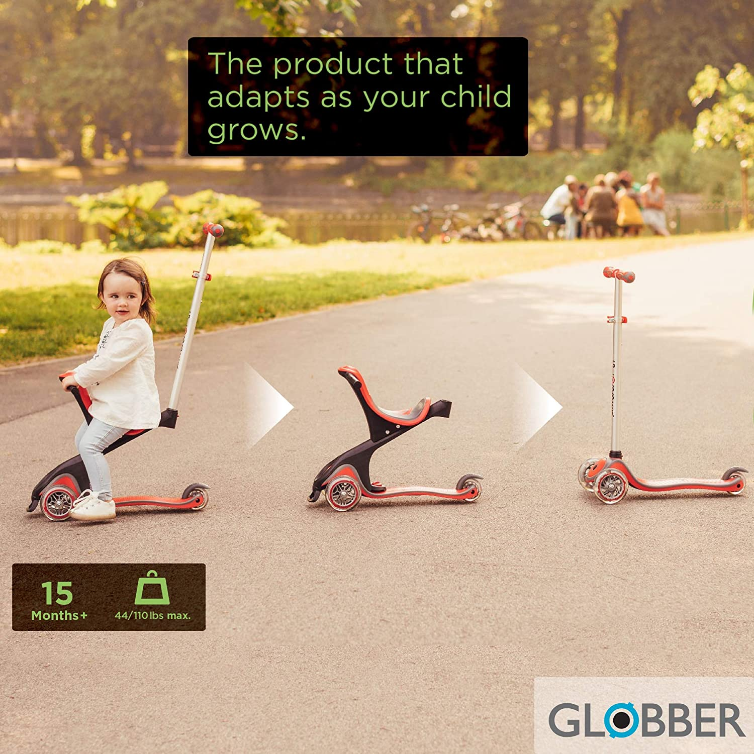 Amazon.com: Globber Evo - Patinete convertible 4 en 1 con 3 ...