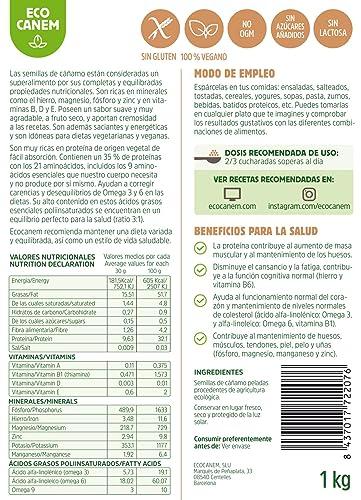 Semillas peladas de cáñamo BIO. 100% Vegano. Raw. 1 Kg.