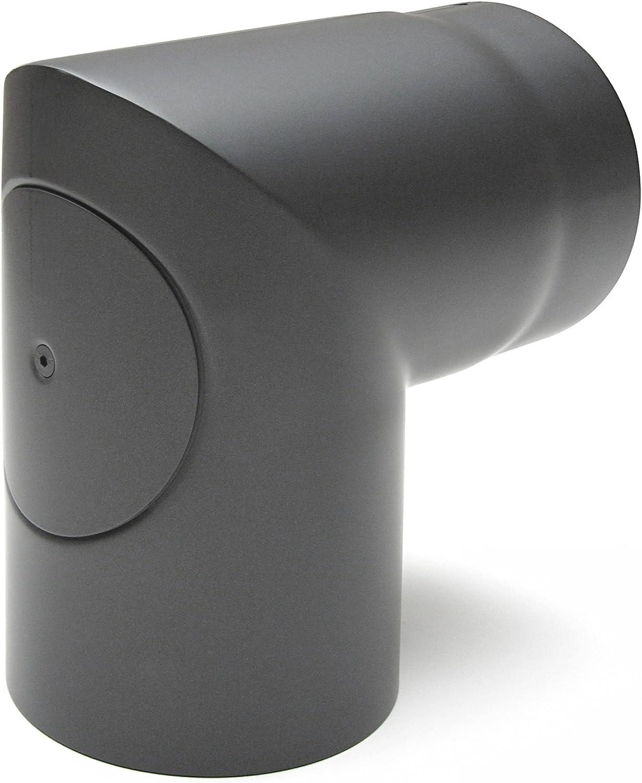 Raik SH083 - 150-GG humo de tubo de arco/horno de tubo de 150 mm - 90° de dos piezas con abertura de limpieza de hierro fundido de colour gris