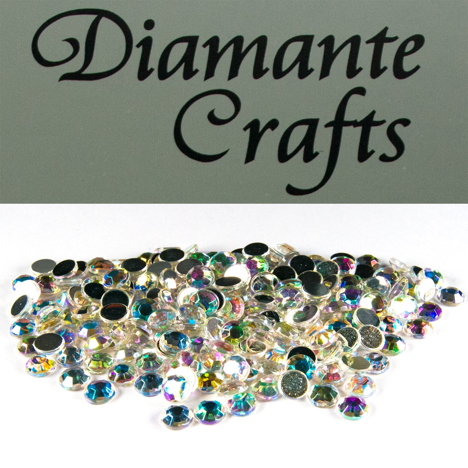 200 x 5mm Clear Iridescent Round Diamante Loose Rhinestone Gems created exclusively for Diamante Crafts