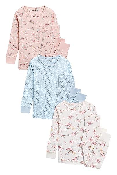 next Niñas Pack De Tres Pijamas Cómodos con Flores (9 Meses - 8 Años)