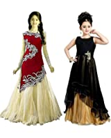 Market Magic World Girl's Black & Black Velvet, Net Semi Stitched Combo Pack lehenga Choli, Salwar Suit, Gown (Kids Wear_Free Size_8-12 Year age)