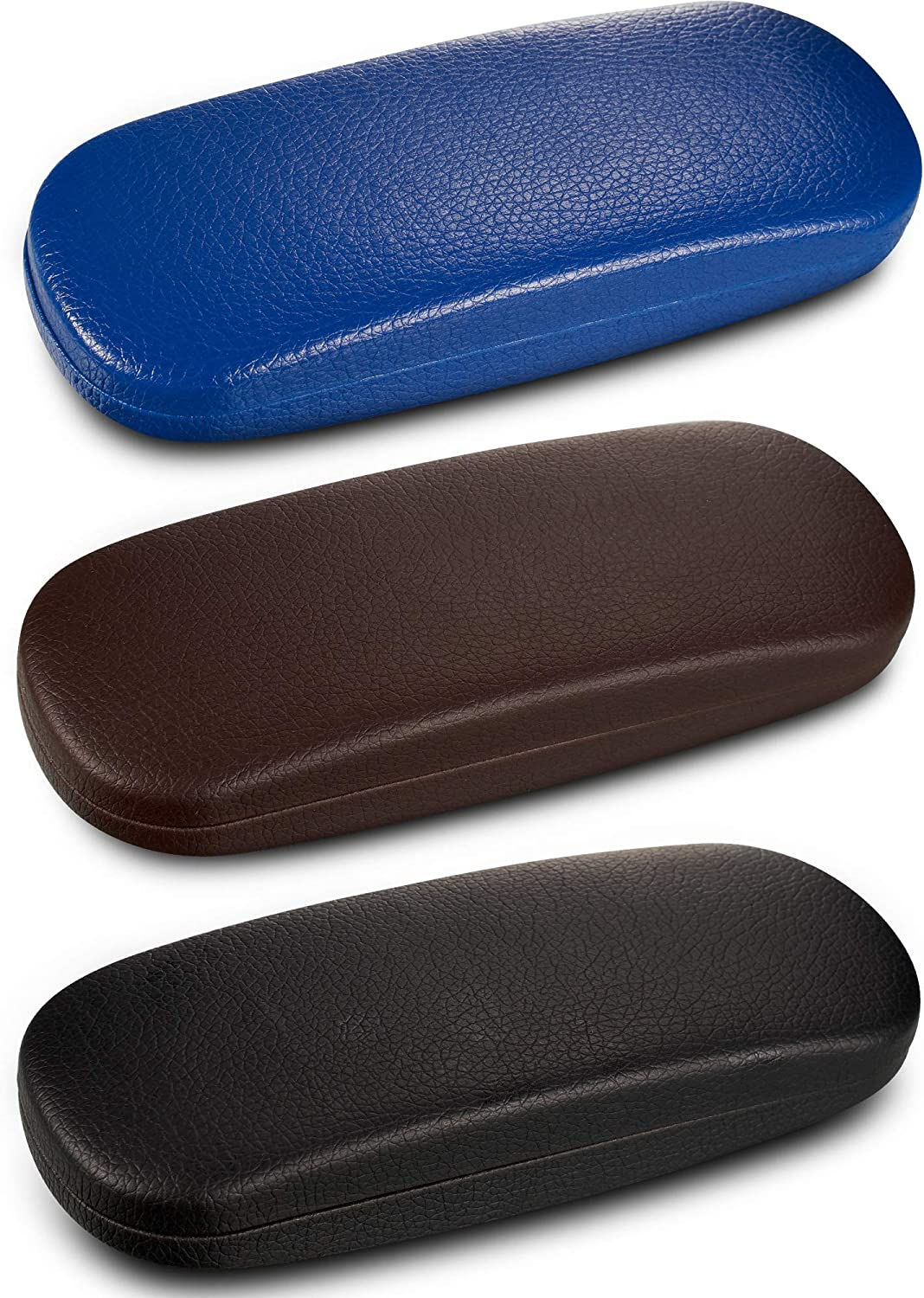 3 Pieces Hard Shell Glasses Eyeglasses Sunglasses Case with Eyeglass Cloth (Grain Pattern)