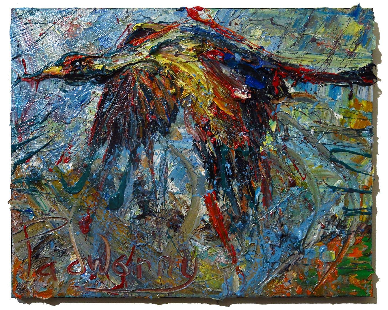 UNTITLED m1097 - Original oil painting bird fly by