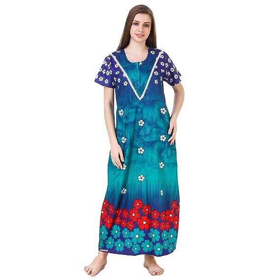 16671071d2 MILIT Women's Cotton Nighty (MIV916A, Multicolour, Free Size ...