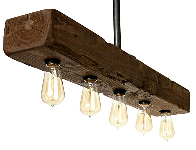 Farmhouse Style Distressed Wood Light Fixture   Recessed Wooden Beam Rustic  Decor Chandelier Lighting (5