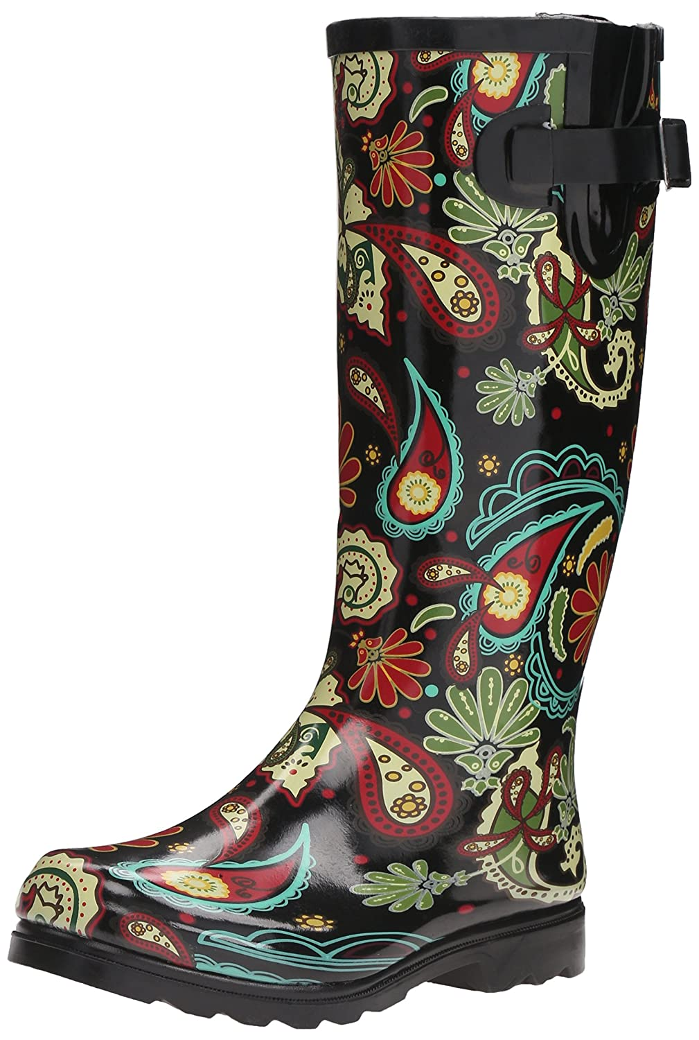 Nomad Women's Puddles Rain Boot B003VEBW90 5 M US|Black Paisley