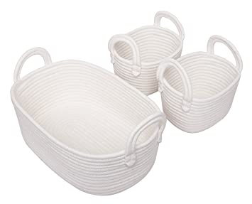 Cotton Rope Storage Baskets, Set Of 3 Toy Organizer For Nursery Decor, Soft  Durable