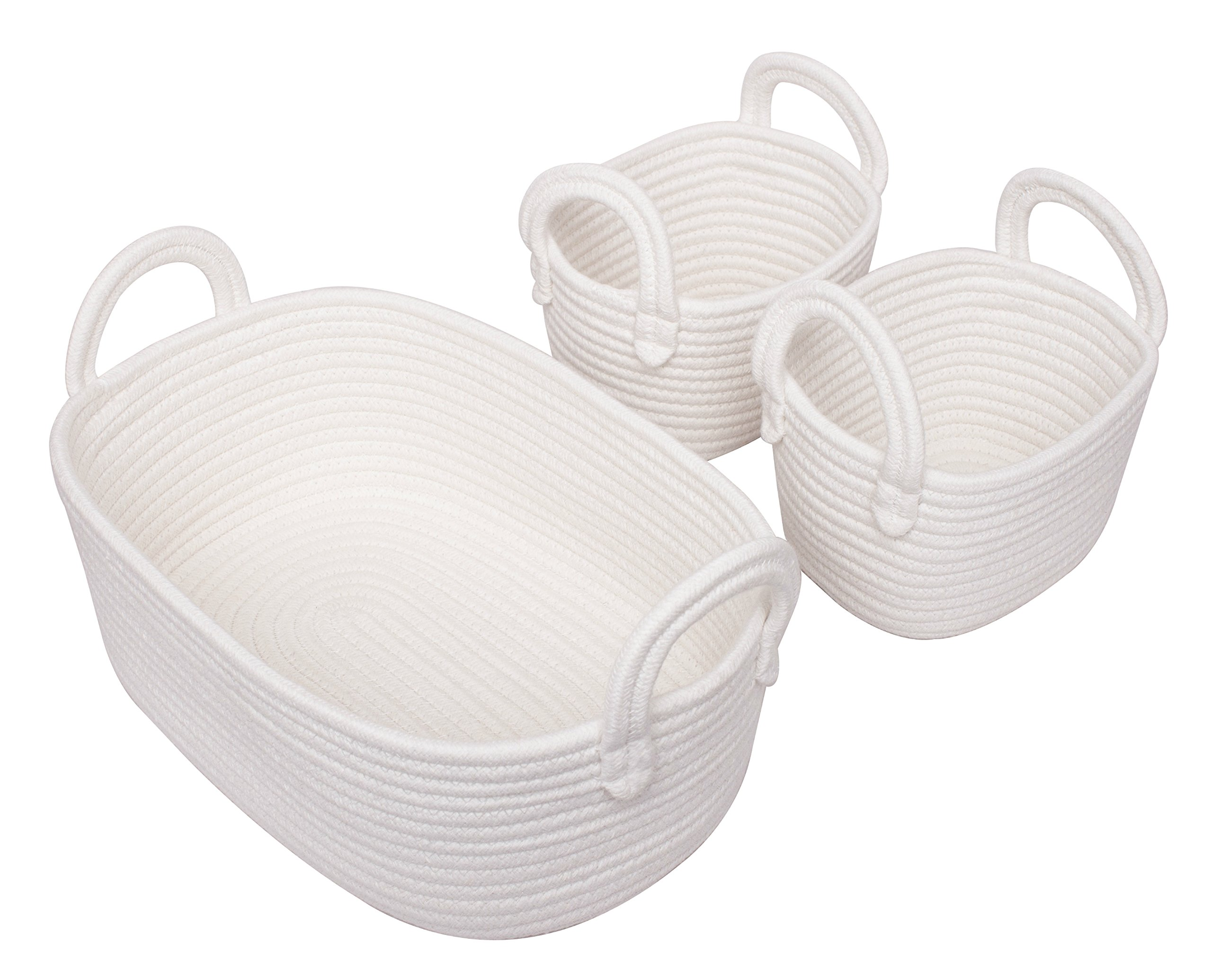 Cotton Rope Storage Baskets, Set Of 3 Toy Organizer For Woven Nursery  Decor, Gift