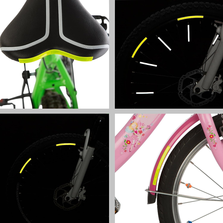 Sichere Sichtbarkeit zum Aufkleben Ultrasport reflektierende Felgenrandaufkleber 16er-Pack Neon Gelb