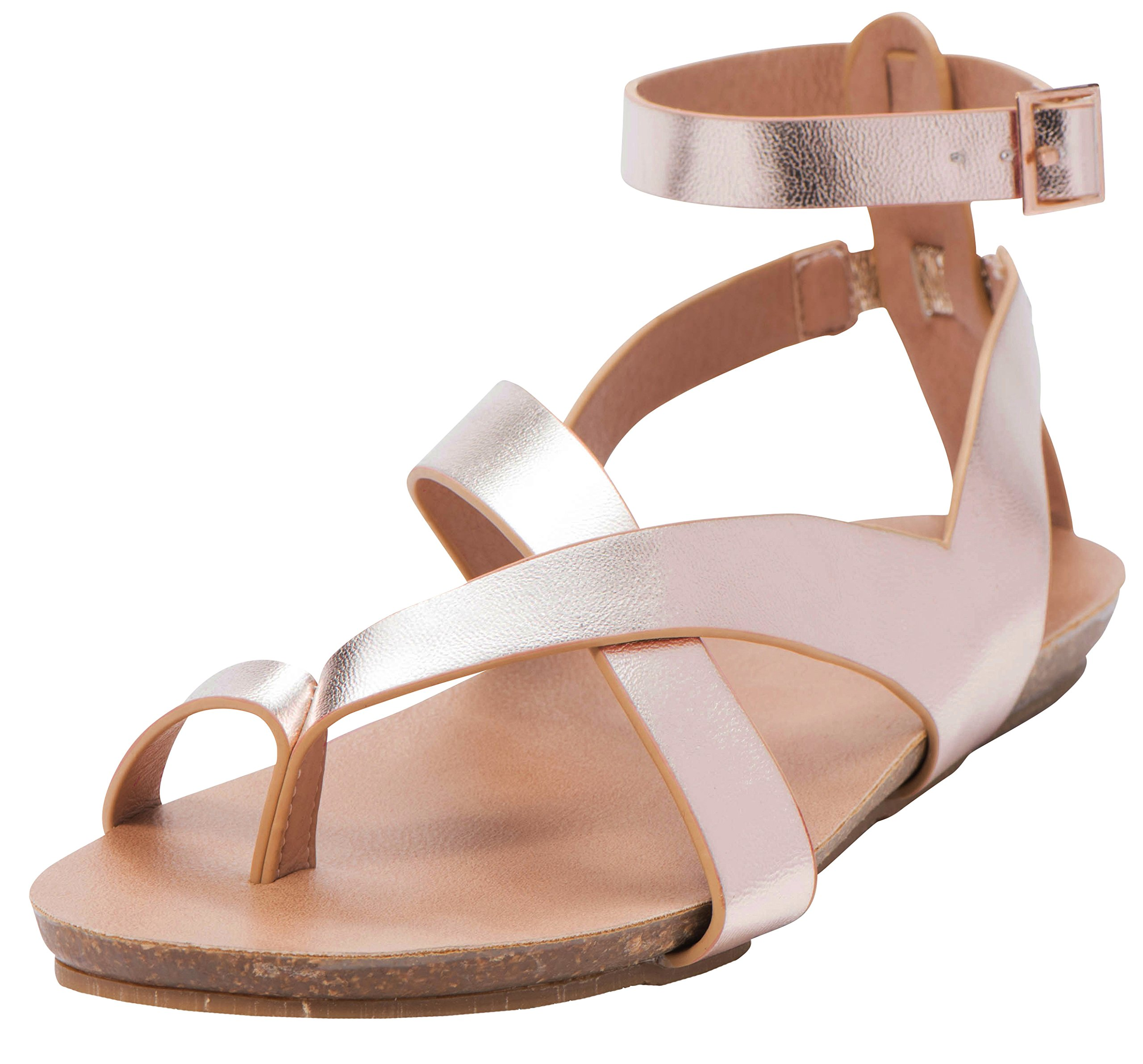 Cambridge Select Women's Crisscross Thong Buckled Ankle Strappy Flat Sandal (8 B(M) US, Rose Gold PU)