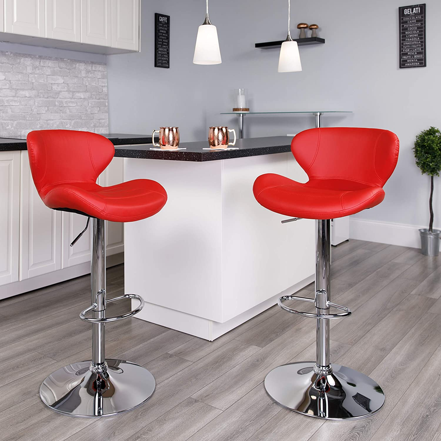 Flash Furniture 2 Pack Contemporary Red Vinyl Adjustable Height Barstool with Curved Back and Chrome Base