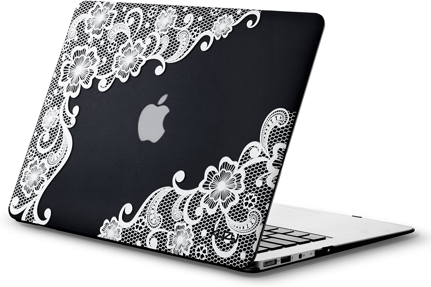 Kuzy MacBook Air 13 inch Case A1466 A1369 Soft Touch Cover for Older Version 2017, 2016, 2015 Hard Shell - Lace Black