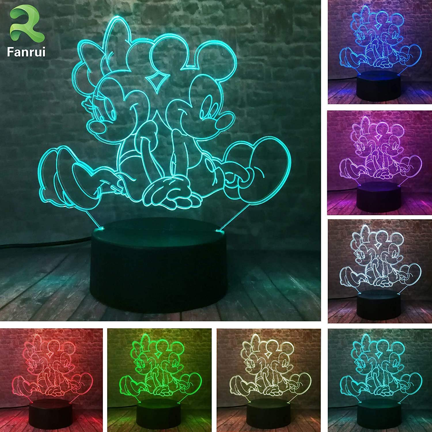 Fanrui Mickey Minnie Figurines Fairy Light 3D Cartoon Mouse Automatic LED Children Night Lamp Sweet Perfect 7 Colors Change Boys Girls Room Decor Kids Baby Festival Xmas Birthday Holiday Toys Presents