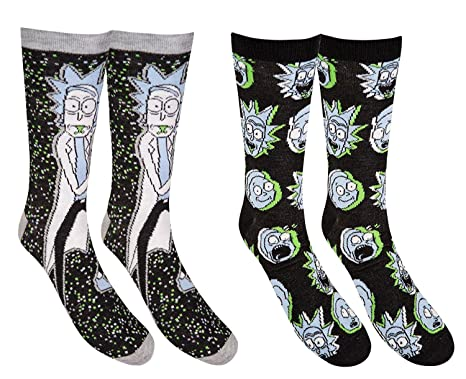 f1fd4b3f3cf6 Image Unavailable. Image not available for. Color: Hyp Rick and Morty  Galaxy Men's Crew Socks 2 Pair Pack Shoe Size ...