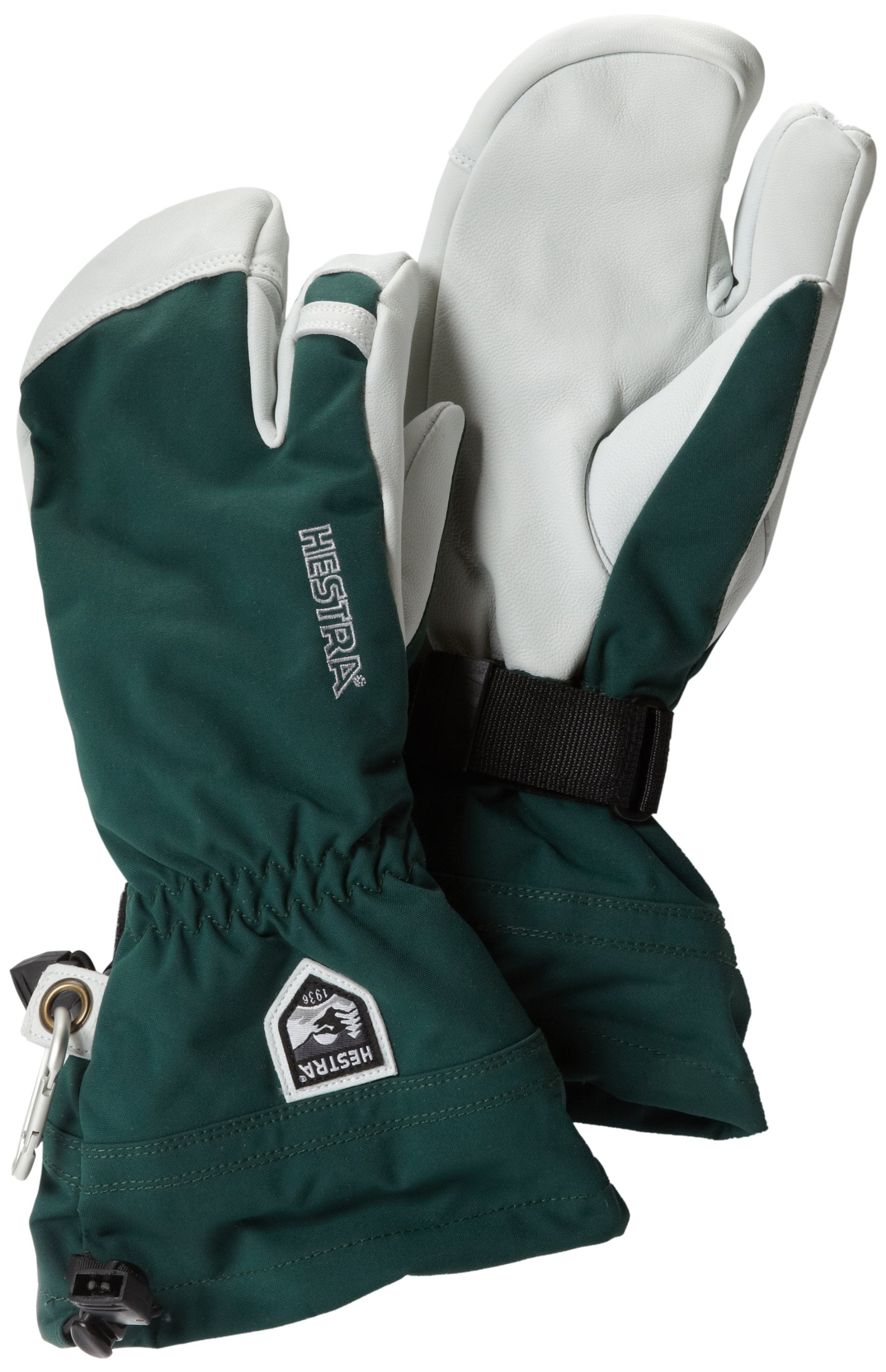 Hestra Army Leather Heli Ski 3-Finger Gloves with Gauntlet,Bottle Green,10