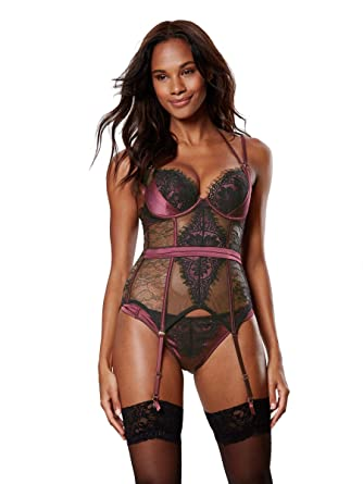b860219360 Ann Summers Womens Angeline Basque Underwire Sexy Lingerie Wine Black S  D-E  Amazon.co.uk  Clothing