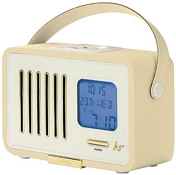 KitSound Swing Mini Portable 1920s Style Retro FM Radio With Alarm Clock