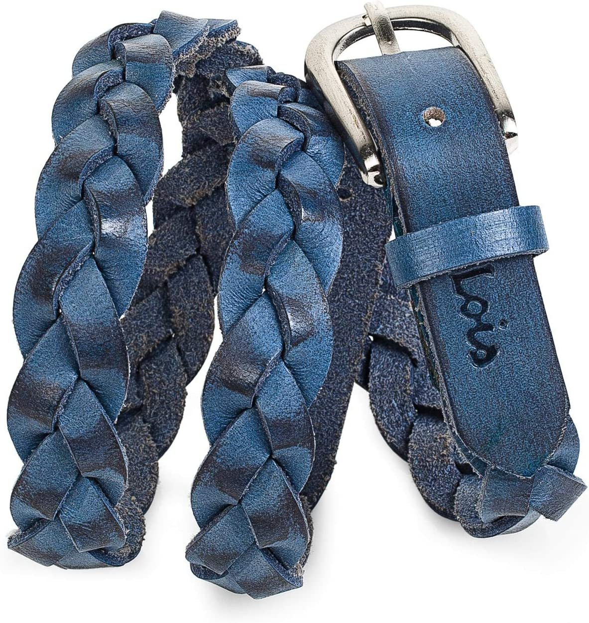 Lois - Cinturón para Mujer de Cuero Piel Genuina Trenzado con Hebilla Metálica. Resistente, Flexible y Duradero. Largo Adaptable. Ideal para Regalo. Ancho 20 mm. 501007, Color Azul