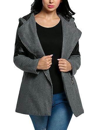 the best attitude 5da08 46c51 Caeasar Damen Wintermantel Übergangsjacke Winter Parka Trenchcoat Warm  Mantel Woll