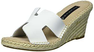 b1c6a8ee4bb8a Steve Madden Women's Eryk White Leather Sandal 10 US