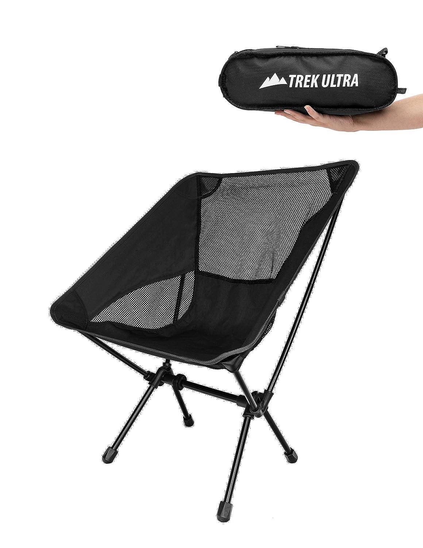 trekultraポータブルコンパクト軽量Camp Chair withバッグ – Ultralight Folding Camp椅子 – Greatビーチハイキングバックパッキング、スポーツイベントチェア、調節可能なすべての地形フィート B01M6869P2 ブラック ブラック