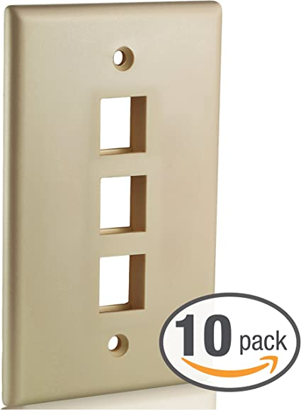 5 Pack Ivory 1Port//Hole Keystone Jack Insert Wall Plate Smooth Faceplate 1-Gang