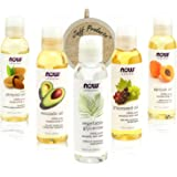 New Now Foods Solutions 5 Pack - Carrier Oil Gift Set: Almond Oil - Grapeseed Oil - Avocado Oil - Apricot Oil - Vegetable Glycerine Oil 100% Natural Moisturizing Massage 4 Oz - Free Loofah Sponge