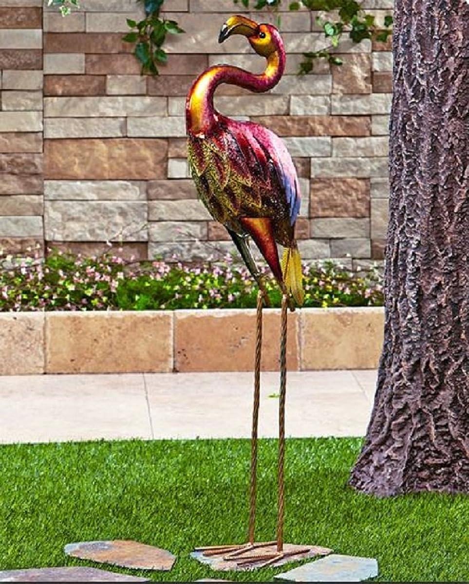 Colorful Vibrant Iron Metallic Bird Decor Garden Outdoor Decoration (flamingo)