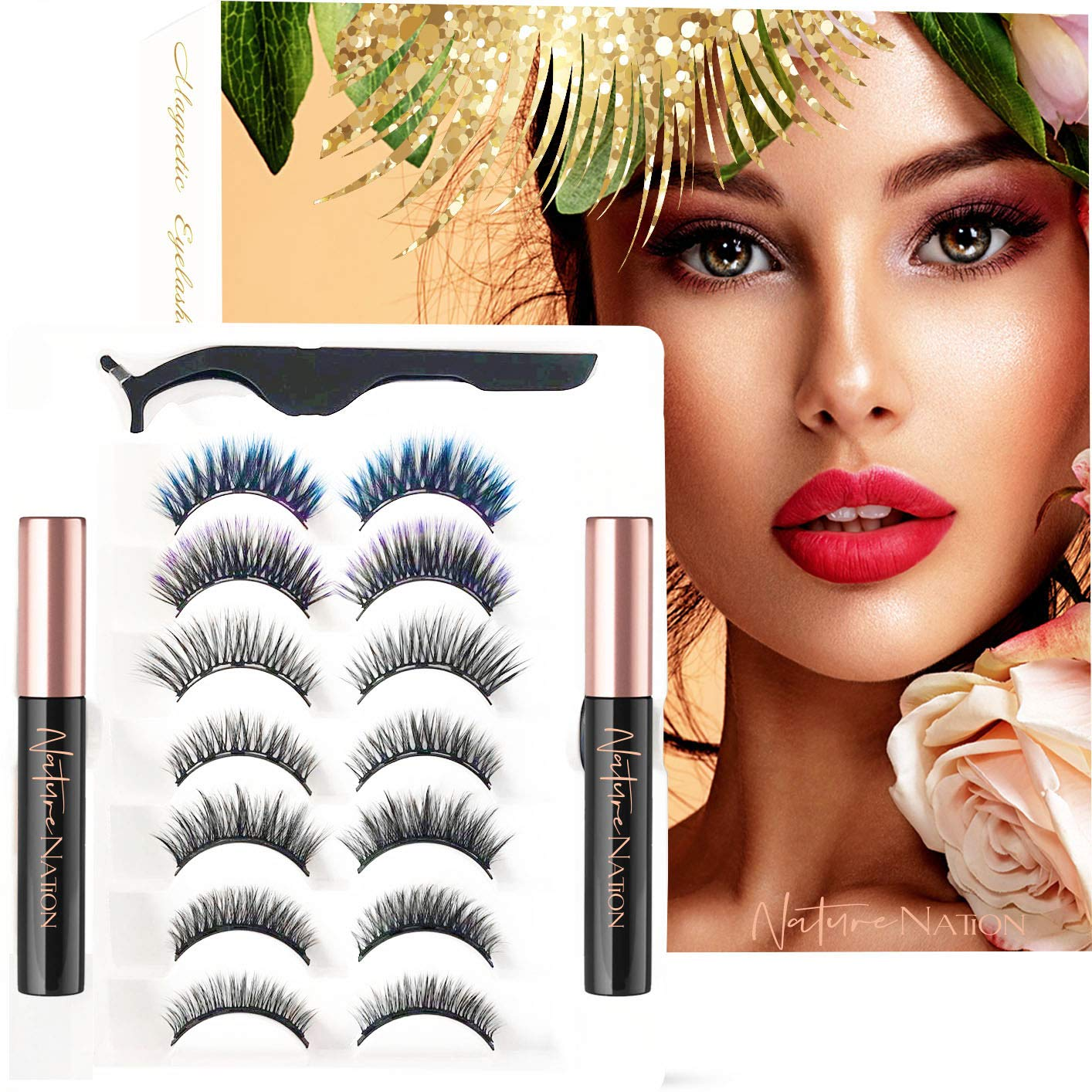 Nature Nation 5D Magnetic Eyelashes and Eyeliner Kit with 2 Colorful Eyelashes, 7 Pairs Different Styles Reusable, Korean Materials, No Glue Needed