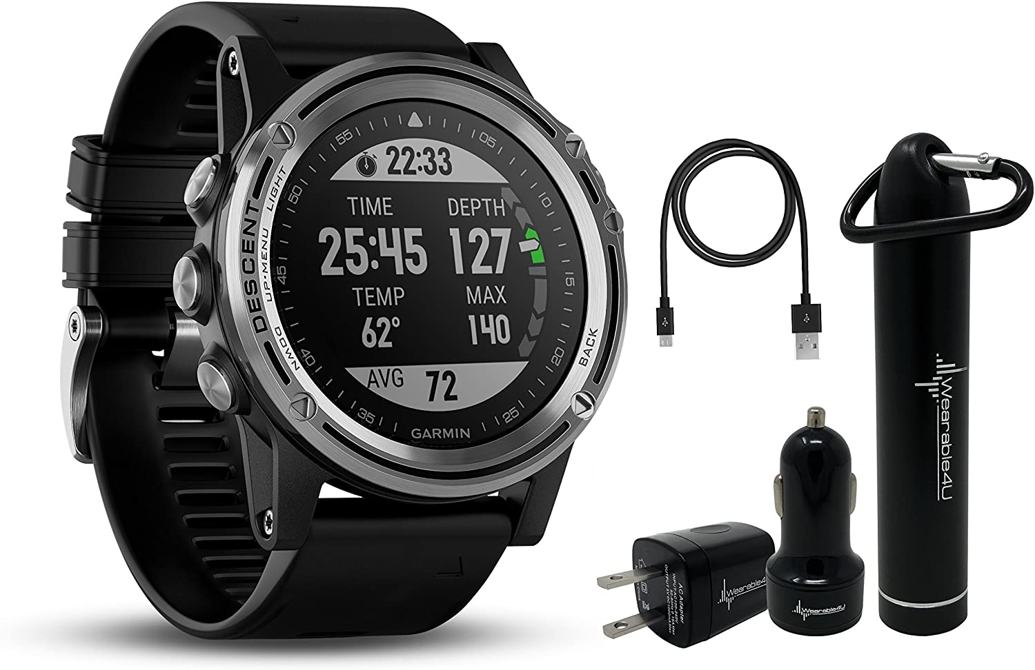 Garmin Descent MK1 Versatile Dive Computer with Surface GPS and Multisport Features and Wearable4U Ultimate Power Pack Bundle Silver Sapphire with Black Band