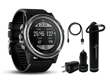 Garmin Descent MK1 Versatile Dive Computer with Surface GPS and Multisport Features and Wearable4U Ultimate Power Pack Bundle (Silver Sapphire with ...