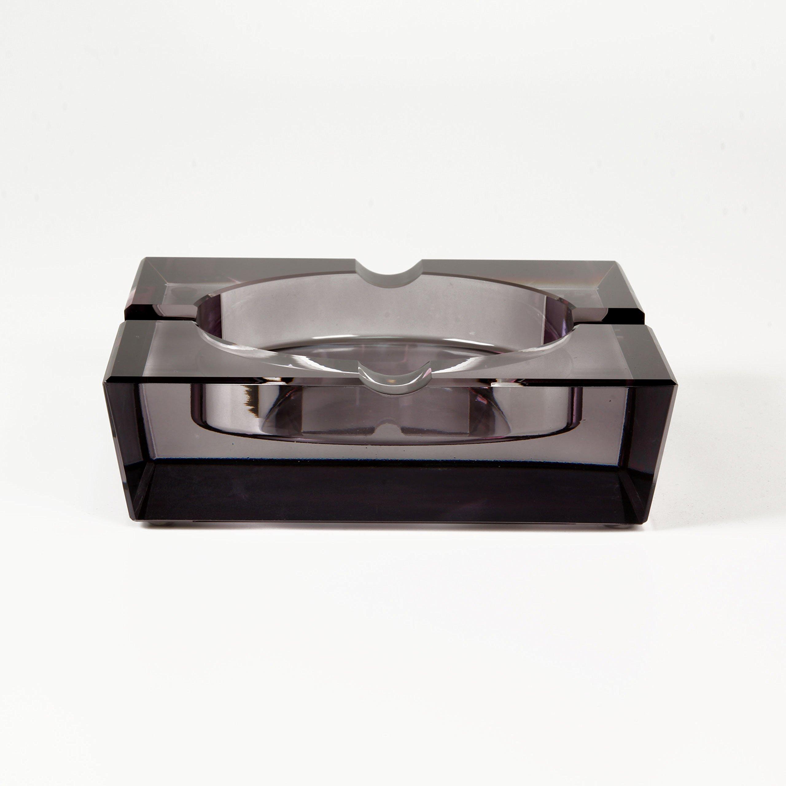 Quality Importers Ashtray 4 Cigar Crystal Ashtray, Opaque Black