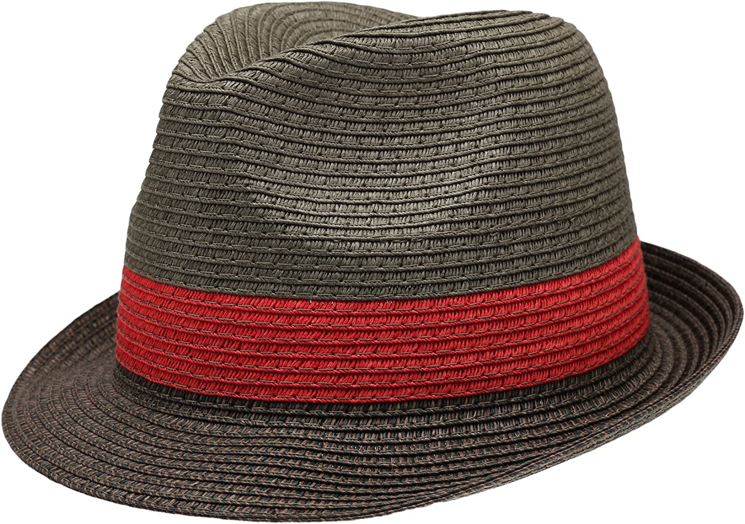 Summer Trilby Short Brim Sun Straw Fedora Hat Cap with Color Striped.