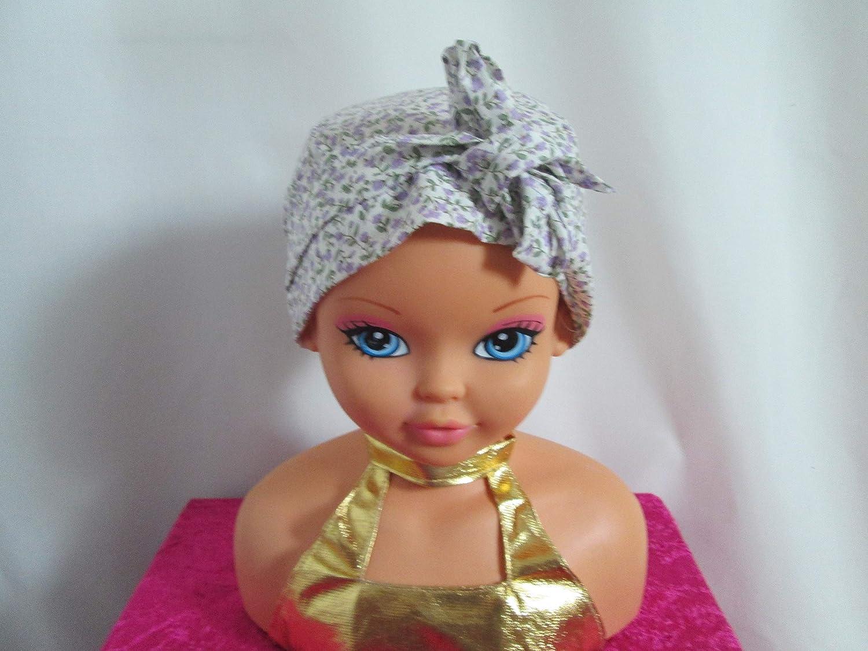 Foulard chimio enfant, turban écrue avec des petites fleurs mauve
