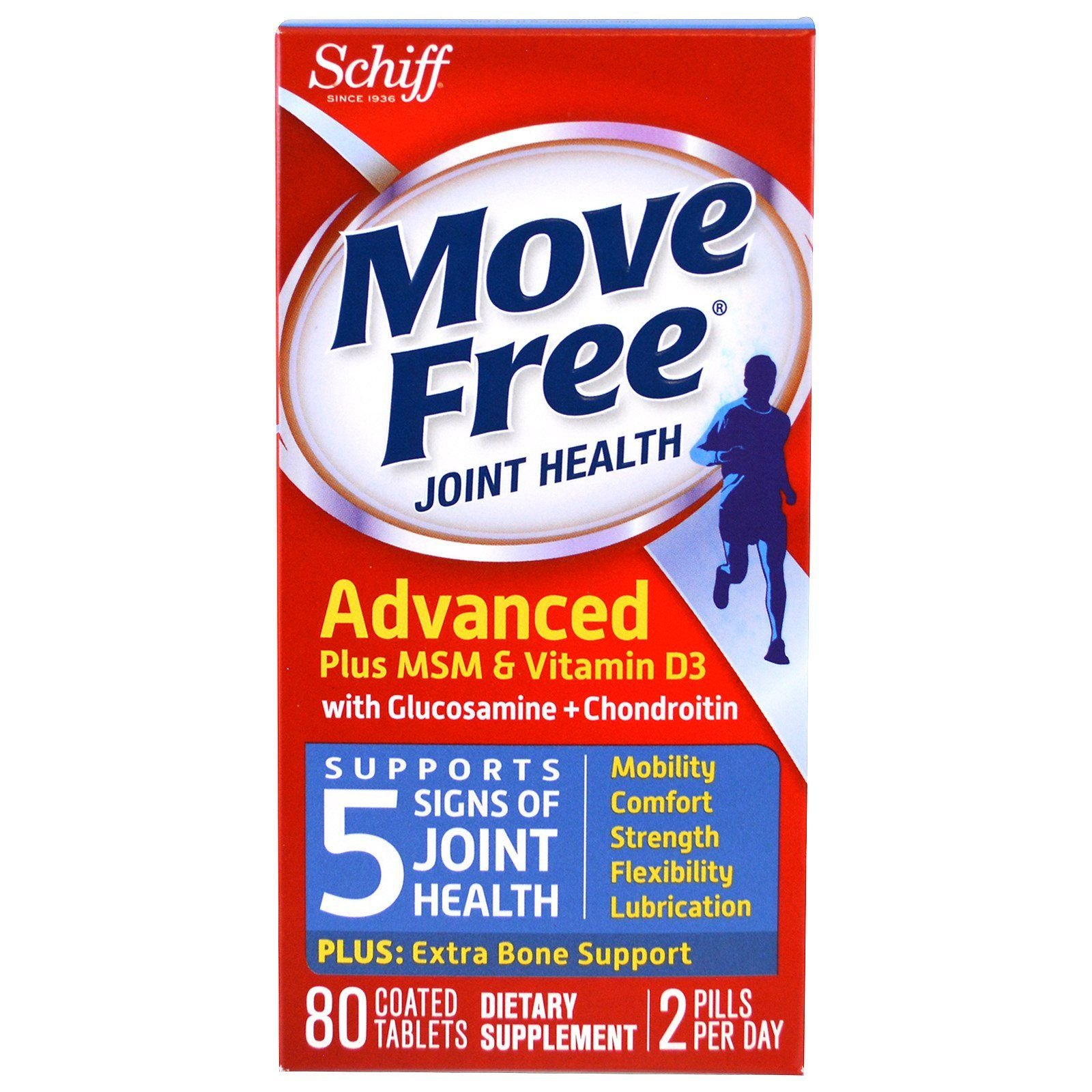 Move Free Advanced Plus MSM and Vitamin D3, 80 tablets - Joint Health Supplement with Glucosamine and Chondroitin (Pack of 3)