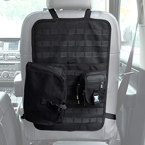 7edc5f82d6 SUNPIE Universal Tactical Seat Cover, Vehicle Seat Back Organizer Panel,  Seatback Protector Kickmat with