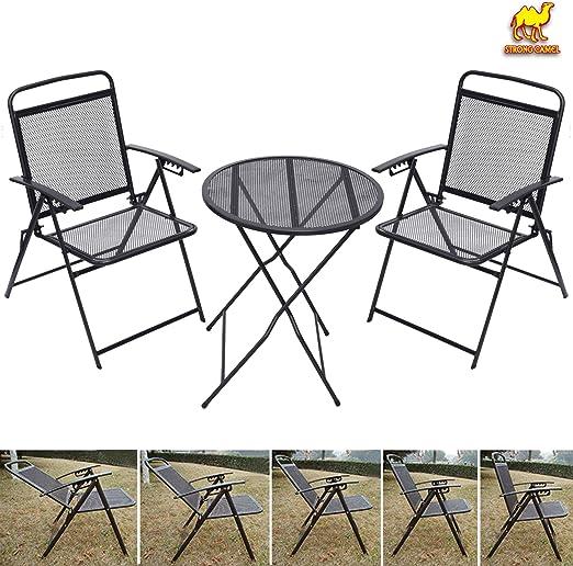 Fuerte Camel de patio, Bistro – Juego de mesa y sillas Conjunto de hierro forjado Cafe para exterior metal: Amazon.es: Jardín