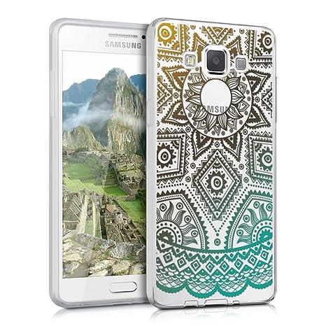 kwmobile Funda para Samsung Galaxy A5 (2015) - Carcasa de [TPU] para móvil y diseño de Sol Azteca en [Amarillo/Turquesa/Transparente]