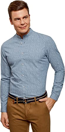 oodji Ultra Hombre Camisa Estampada con Cuello Mao, Azul, сm ...
