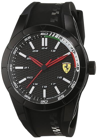 d3c76da4ef Orologio uomo analogico al quarzo cinturino in silicone nero, Scuderia  Ferrari 0830301: Ferrari: Amazon.it: Orologi