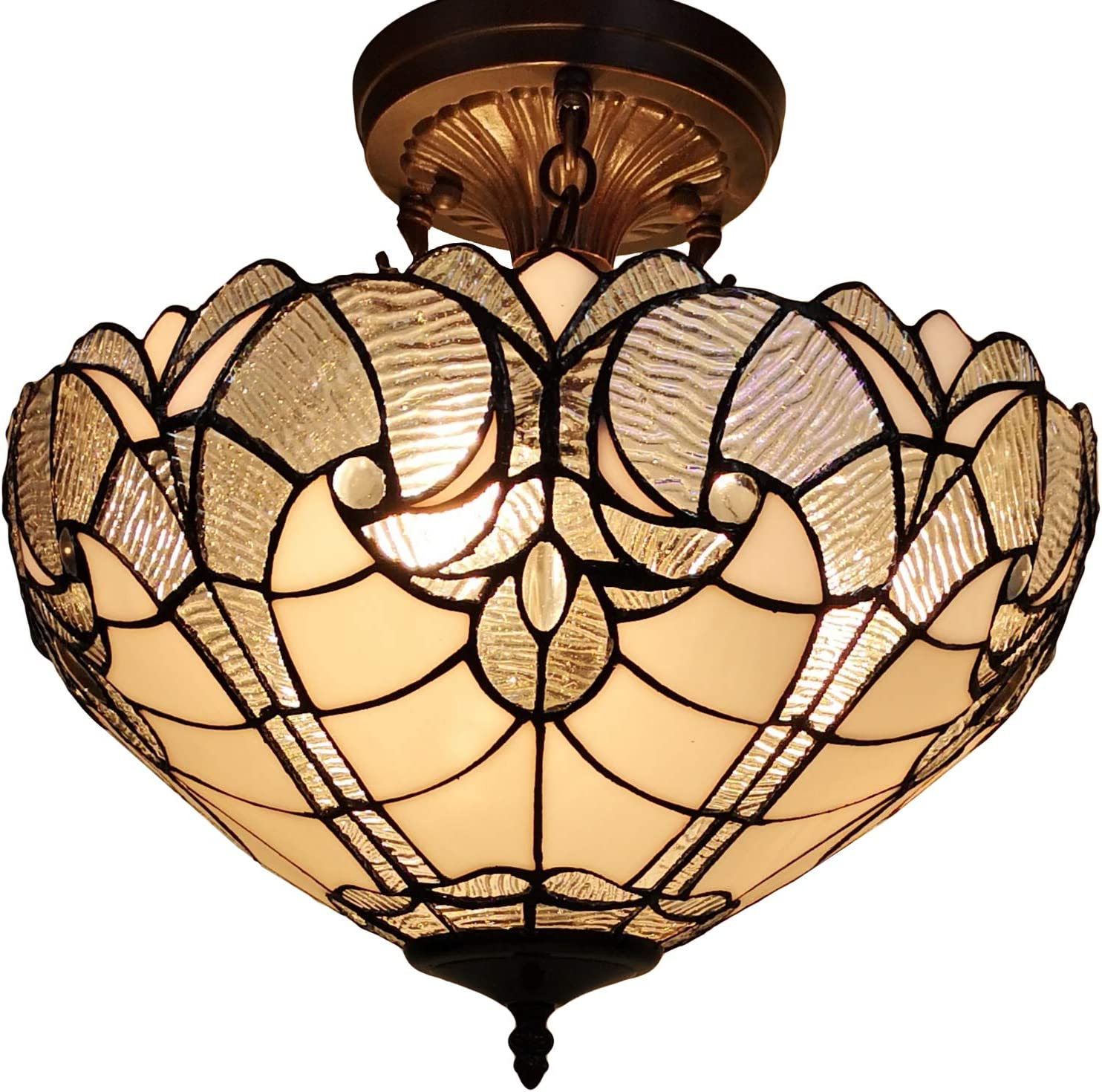 Amora Lighting Tiffany Style Ceiling Lamp Fixture Semi Flush 16 Wide White Stained Glass Antique Vintage 2 Light Decor Game Living Dining Room Kitchen Gift Am216hl16b Amazon Com