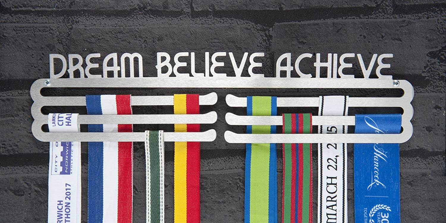 Dream Believe - Medalla de acero inoxidable Runners Wall