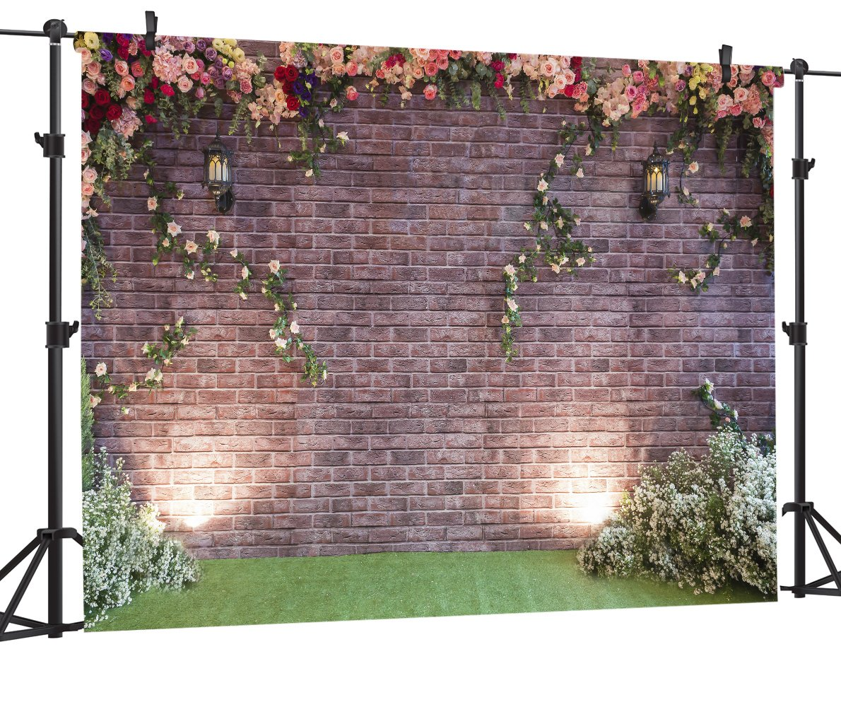 OUYIDA 7X5FT Brick Wall Flower Pictorial cloth photography Background Computer-Printed Vinyl Backdrop PCK05