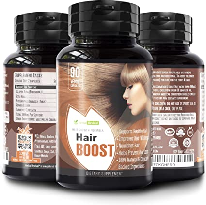 Amazon Com Hr Hair Boost Organic Hair Growth Supplements Thicker Fuller Longer Hair Pills Hair Regrowth And Hair Loss Vitamins Nourishes Hair From Within 100 Natural Hair Growth Vitamins For