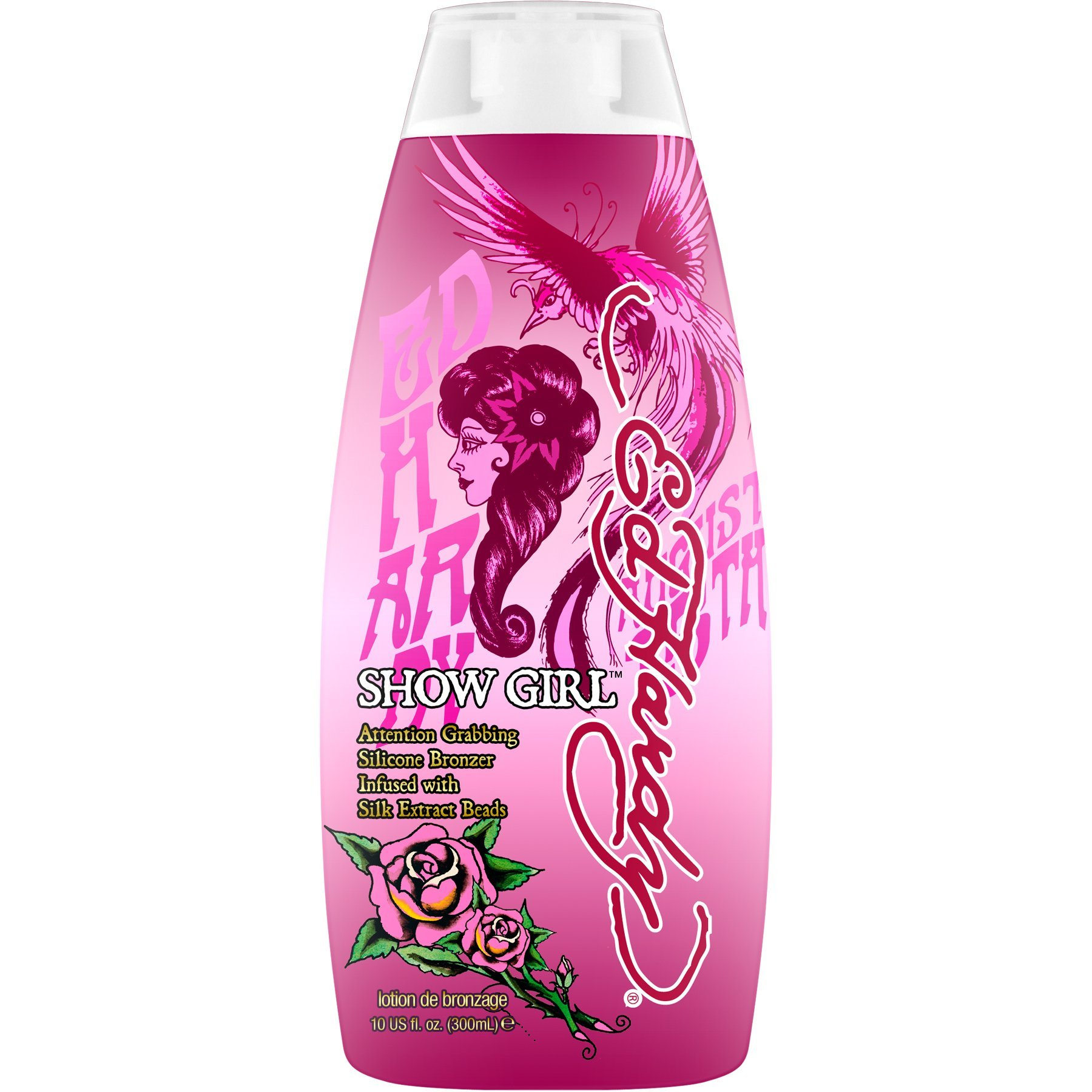 Ed Hardy Show Girl Silicone Bronzers with Silk Extract Beads Tanning Lotion, 10 oz.